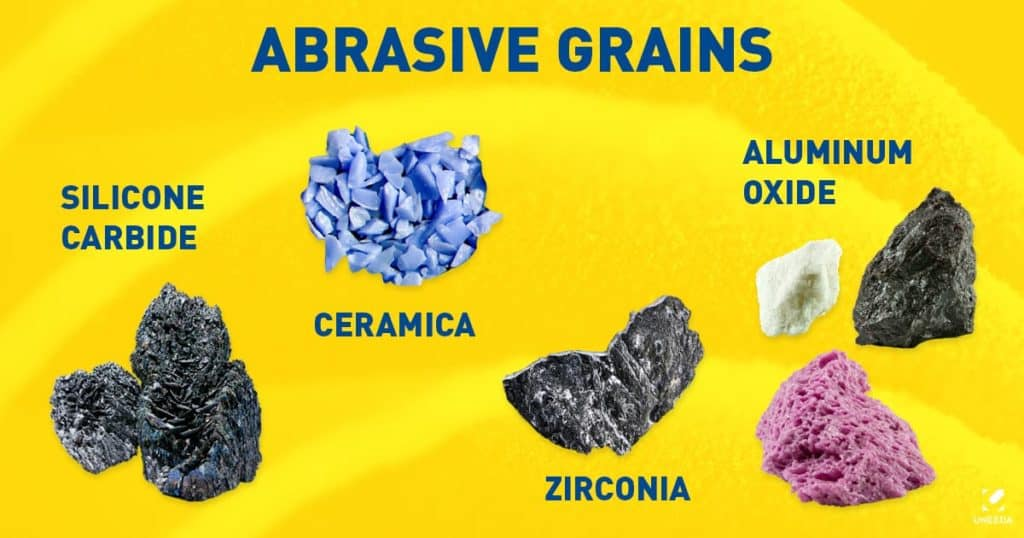 Abrasive grains used in sandpaper for woodworking and more